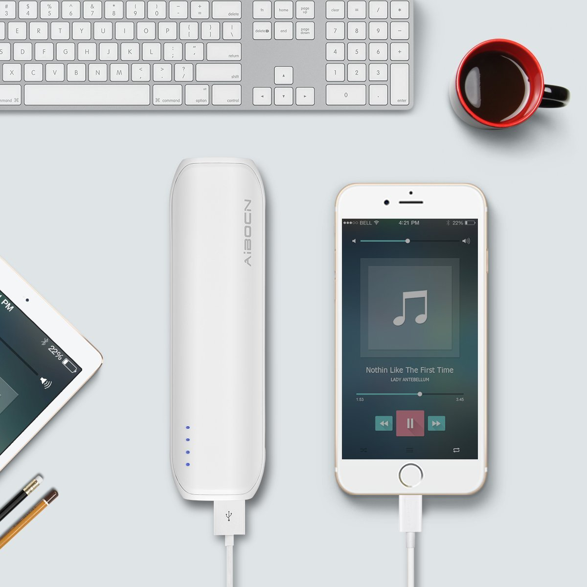 Pocket Sized Power Bank Mini Portable Charger White Color