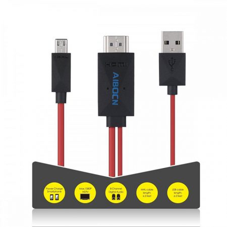 6.5 Feet 11 Pin Micro USB to HDMI Cable for Samsung Galaxy