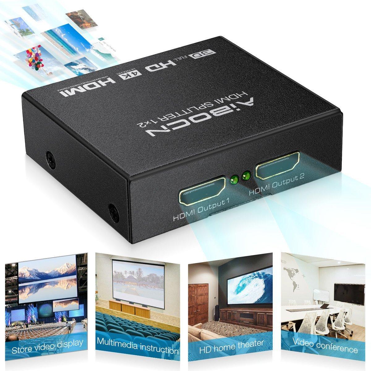 Aibocn HDMI Splitter 1×2 HDMI Powered Splitter for Full HD